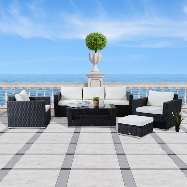 Outsunny 7Pc Wicker Rattan Set Outdoor Garden Patio Furniture Sofa Table Sectional with Cushion& Beige Black | Aosom Canada