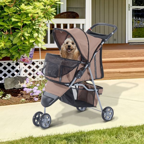 PawHut 3 Wheel Folding Dog Pet Cat Stroller Carrier Carrying Cart with Brake and Canopy Coffee