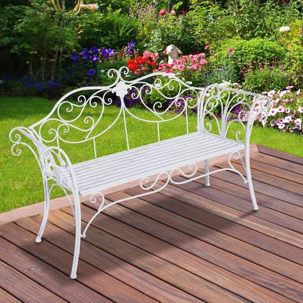 Outsunny Patio Iron Bench Garden Chair 53inch Outdoor Indoor 2 Seater Metal Loveseat Chair White | Aosom Canada