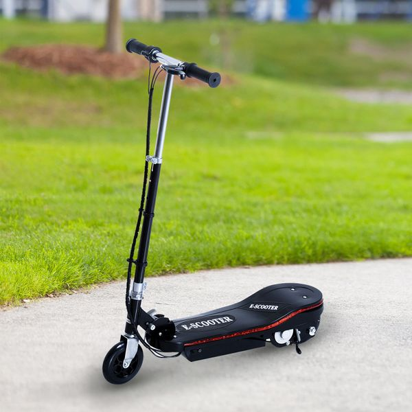 Qaba Electric Adjustable Foldable Electric Scooter with LED Light Battery Powered Motorized Bike Black 120W Kids Scooter T-bar E-Bike |Aosom Canada