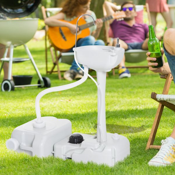 Outsunny Portable Cleaning Portable Hand wash Sink Outdoor with Sanitizer Station|AOSOM.CA
