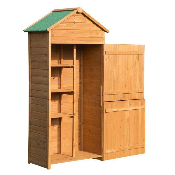 Outsunny Wood Storage Shed Garden Shed Lockable Unit Outdoor Tool Storage Cabinet Arrow Hutch w/ Double Doors|Aosom Canada