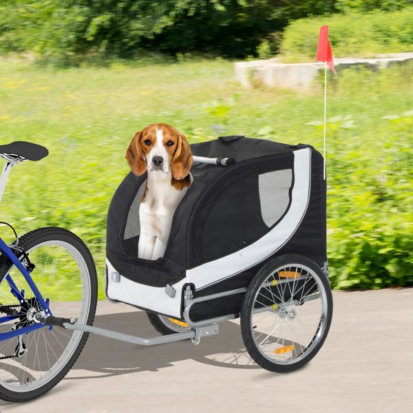 PawHut Pet Bike Bicycle Trailer Stroller High Quality Easy Walk Folding Jogging Travelling Carrier for Dog Cat Black | Aosom Canada