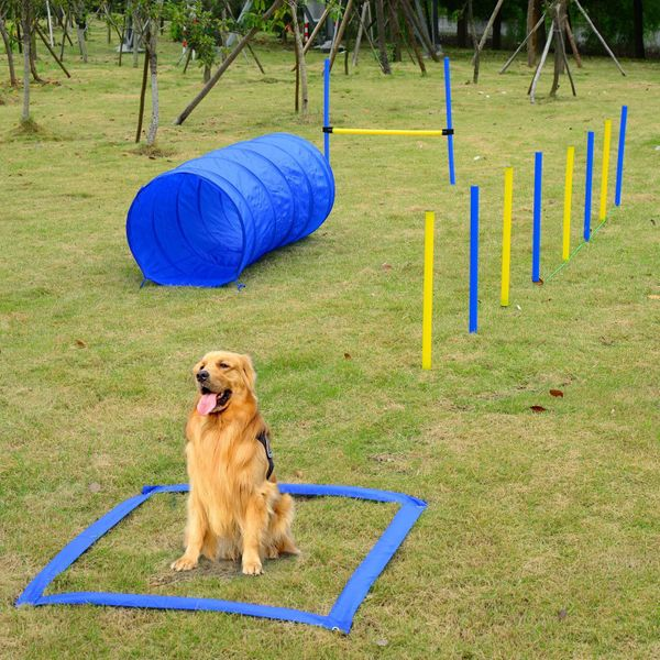 PawHut Dog Agility Starter Kit Pet Outdoor Exercise Training Set Tunnel Weave Pole High Jumper | Aosom Canada