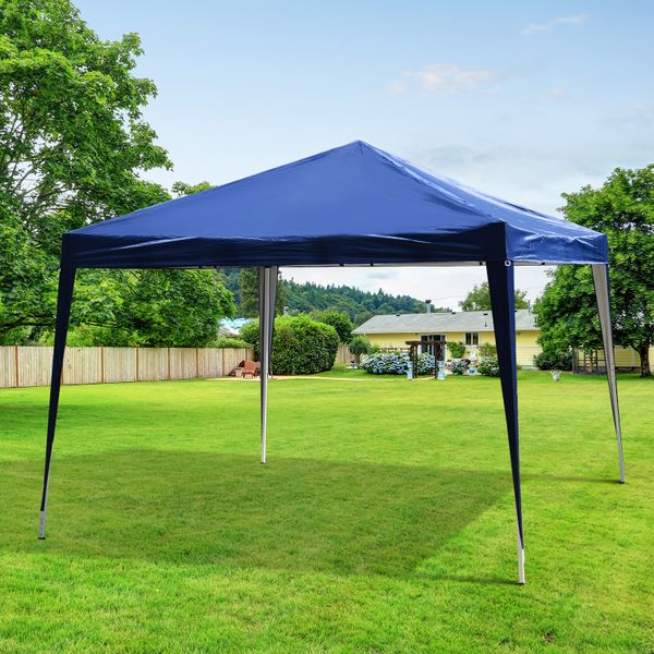 Outsunny 10x10ft Easy Pop Up Canopy Party Wedding Tent Outdoor Patio Shelter Blue | Aosom Canada