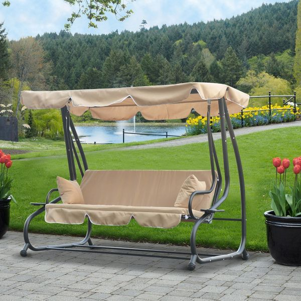 Outsunny Heavy-duty Metal 3 Seater Outdoor Swing Chair Garden Hammock Bed with Canopy and 2 Pillows Beige