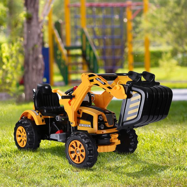 Aosom 6V Excavator Rc Toy Ride On Kids Digger Toys For 3 - 8 Years Old Children W/ Digger Tractor Yellow