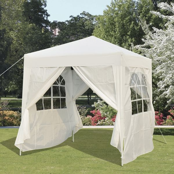 Outsunny 6.6x6.6ft Pop Up Gazebo Folding Wedding Party Tent Outdoor Sunshade Pavilion w/ Four Sidewalls White|Aosom.ca