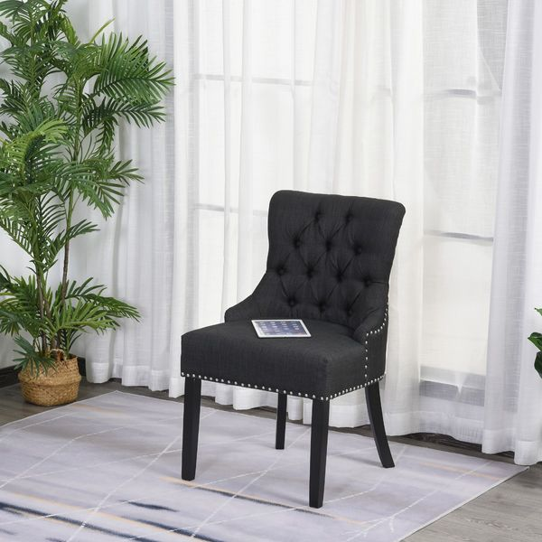 HOMCOM Upholstered Button Tufted Dining Chair Padded Linen Fabric Nailed Trim Wood Legs Metal Ring Design for Easy Pull Living Room Accent Chair Dark Grey w/ | Aosom Canada