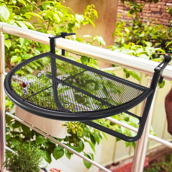 Outsunny Adjustable Balcony Hanging Rail Table Serving Table