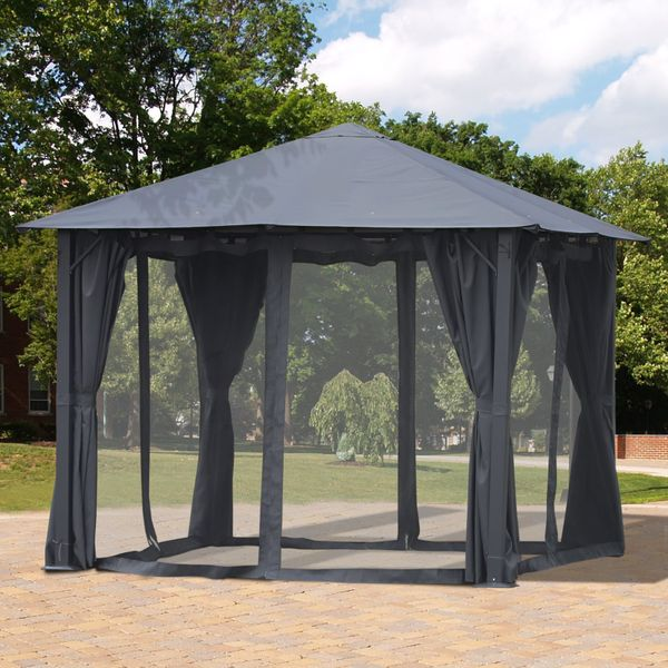 Outsunny 10' x 10' Soft Top Outdoor Gazebo Steel Frame Mesh Curtain Sidewalls Fabric | Aosom Canada