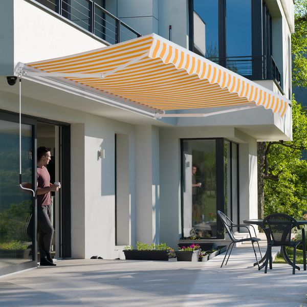 Outsunny 10'x8' Manual Retractable Patio Awning Water-resistant Sun Shade Outdoor Deck Window Door Canopy Shelter Aluminum Frame Orange
