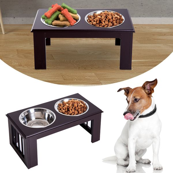 PawHut Double Bowl Wooden Stand Pet Feeder Elevated Base Cat Puppy Twin Bowls Dog | Aosom Canada