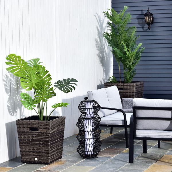 Outsunny Square PE Rattan FlowerPot Two Piece for Indoor or Outdoor Plants Style 2 Pc Set Decoration Pots Use | Aosom Canada