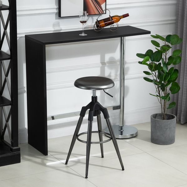 HOMCOM Industrial Bar Stool Backless Metal Swivel Seat Adjustable Height with Footrest  Silver | Aosom Canada