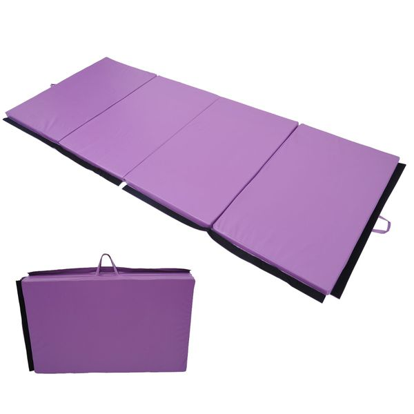 "Soozier Tumbling Mats Foldable Exercise Mat 4' x 10' 2"" PU Leather Folding Gymnastics Mat Tumbling Gym Arts Yoga Exercise Pad 4 Panel Portable Stretching Sports Purple 
