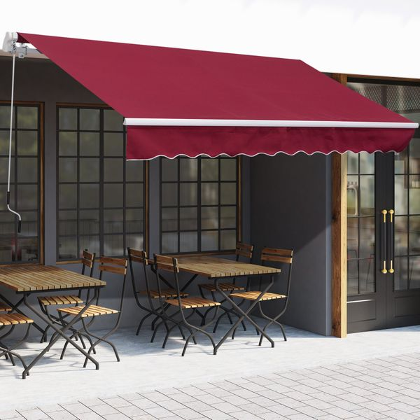 Outsunny 12x8ft Retractable Patio Awning Home Depot Window Door Aluminum Frame Manual Sunshade Shelter Deck Canopy Wine Red  Aosom Canada