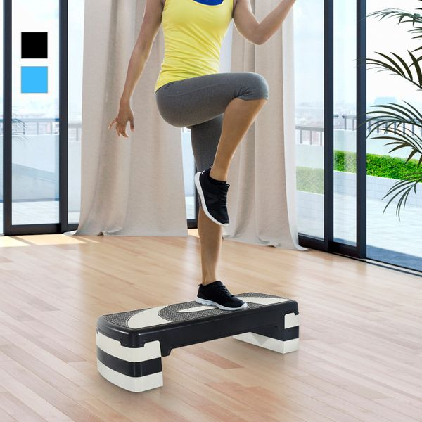 """Soozier 32"""" Adjustable Aerobic & Exercise Stepper Trainer Workout Fitness Yoga Risers Grey 