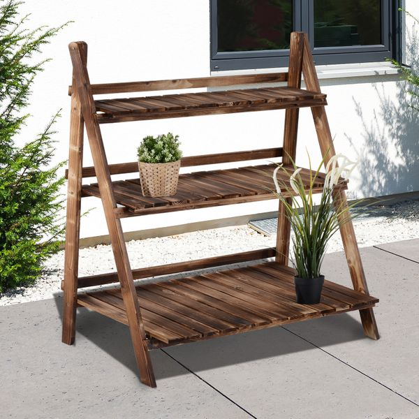 Outsunny 3-Tier Wood Plant Stand Shelf Foldable Garden Flower Display Rack Home Yard Storage Unit Indoor Outdoor Step Style Plant Holder