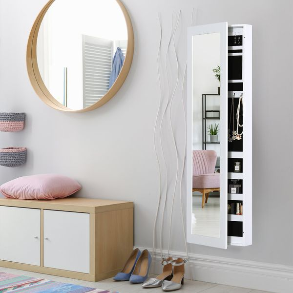 "HomCom 48"" Wall-Mounted Mirrored Jewelry Cabinet - White 