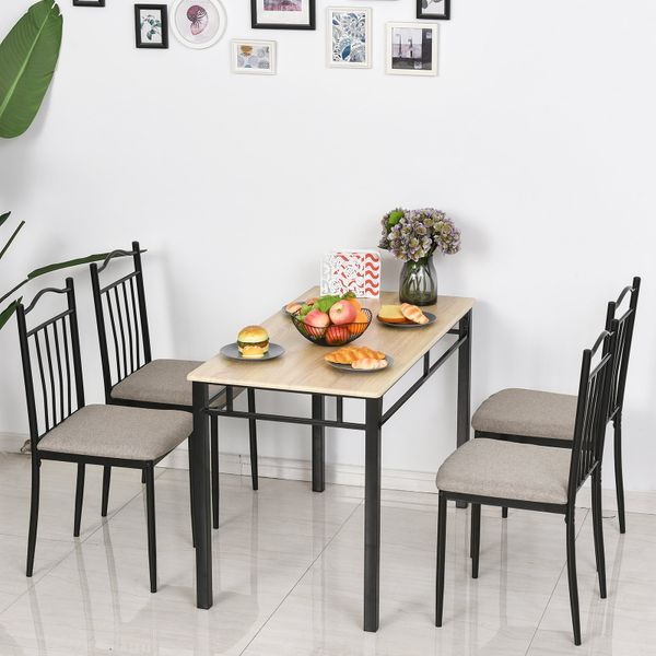 HOMCOM 5 Pieces Dining Set 1 Table 4 Chairs Cushion Seat Wood Color for Home Kitchen