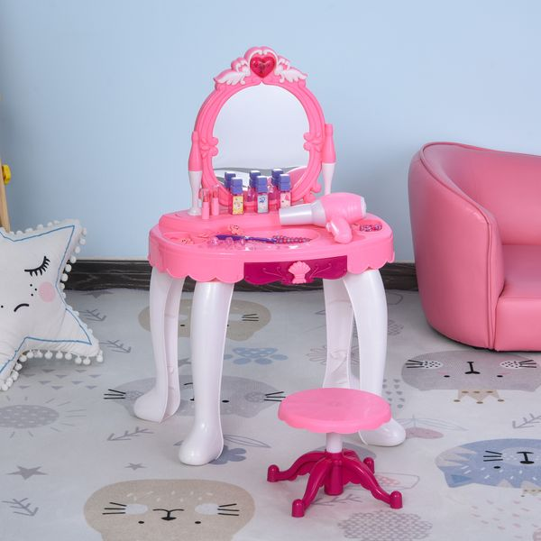 Qaba Children Dressing Table Set Girls Pretend Princess Vanity Table Chair with Music Lightening Cosmetic Mirror Hair Dryer Nail Polish Necklace Bracelet Pink For | Aosom Canada