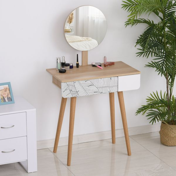HOMCOM Dressing Make Up Table with Drawer and Mirror Wooden Oak Color Small Size Bedroom Dressing Room Elegant and Durable | Aosom Canada