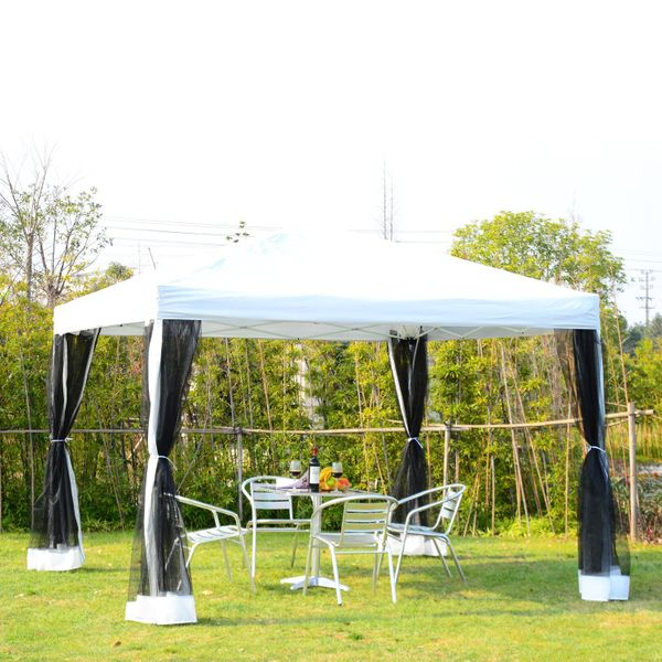 Outsunny 10x10ft Pop Up Wedding Party Tent Gazebo Canopy with Removable Mesh Curtains and Carry Bag, White | Aosom Canada