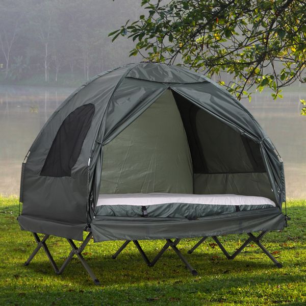 Outsunny Portable Camping Tent Cot Air Mattress w/ Carry Bag Dark Green AOSOM.CA
