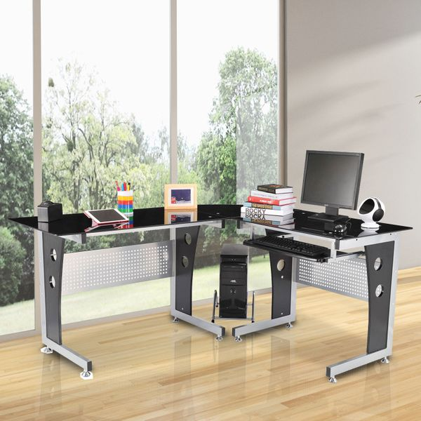 HOMCOM L-Shaped Office Workstation Modern Glass Steel frame construction in silver finish glass Top Computer Desk PC Table|Aosom Canada