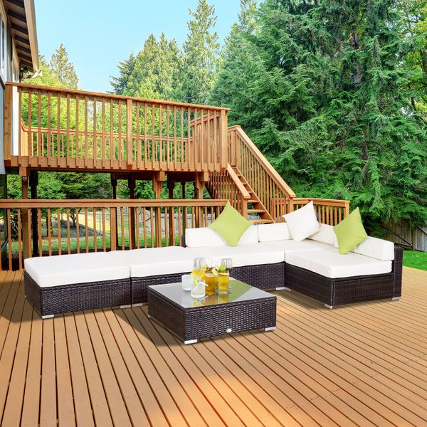 Outsunny 6pc Garden Sectional Wicker Sofa Set All Weather|AOSOM.CA