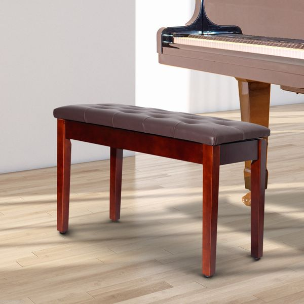 HOMCOM Faux Leather Padded Double / Duet Piano Bench w/ Music Storage - Brown