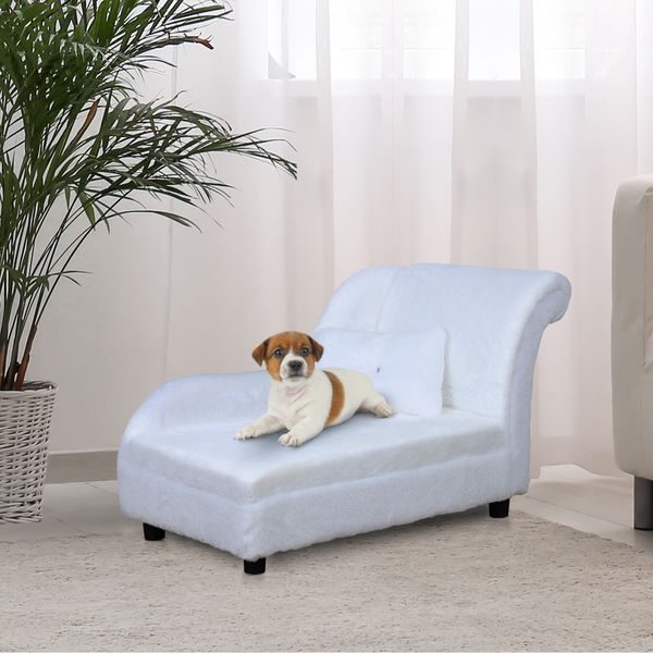PawHut Pet Sofa Couch Small Sized Dog Various Cat Soft Long Plush Sponge Cushioned Bed Lounge with Pillow White Cushion | Aosom Canada
