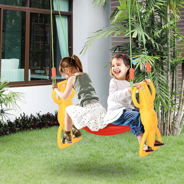 Qaba Outdoor Kid Glider Swing Set 3+ Years Plastic Hanging Child Swing for Outside Backyard Playground 2 Seat Dual | Aosom Canada