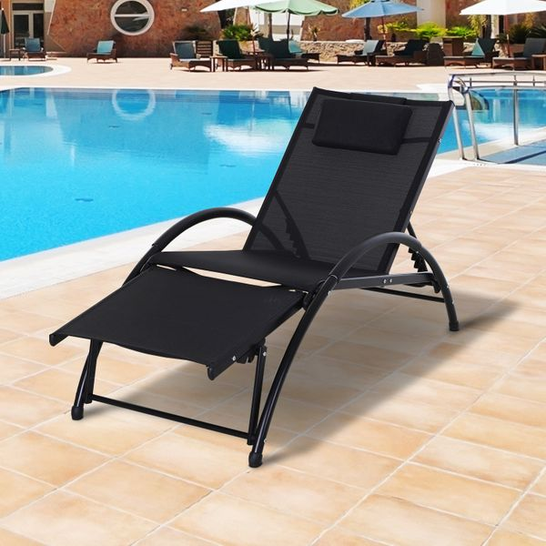 Outsunny Lounger Patio Reclining Texteline Chair w/ Pillow  Adjustable Footrest Black