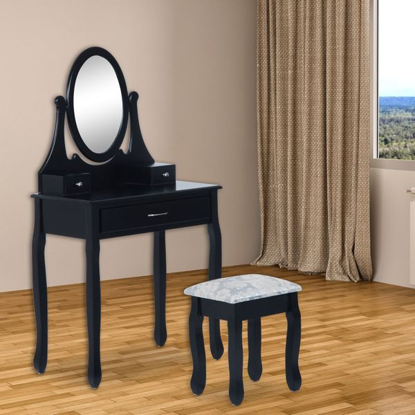 HOMCOM Wooden Large Makeup Vanity Modern Dressing Table Set with Stool, Mirror and 3 Drawer Home Furniture Black | Aosom Canada