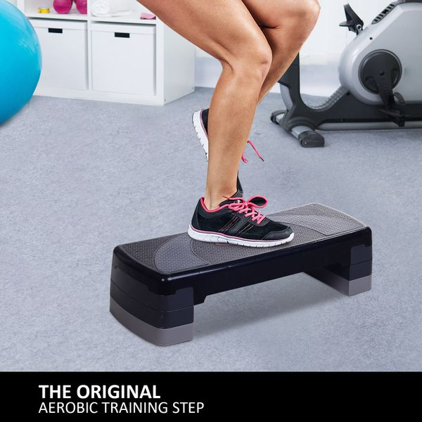 """Soozier 30.5"""" Aerobic Stepper Adjustable Balance Fitness Workout Trainer Cardio 3 Position   Aosom Canada"""