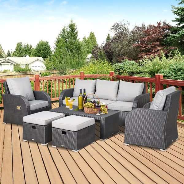 Outsunny 6-Piece Cushioned Outdoor Rattan Wicker 3-Seat Sofa Recliners Footstool Table Set 6pc Padded   Aosom Canada