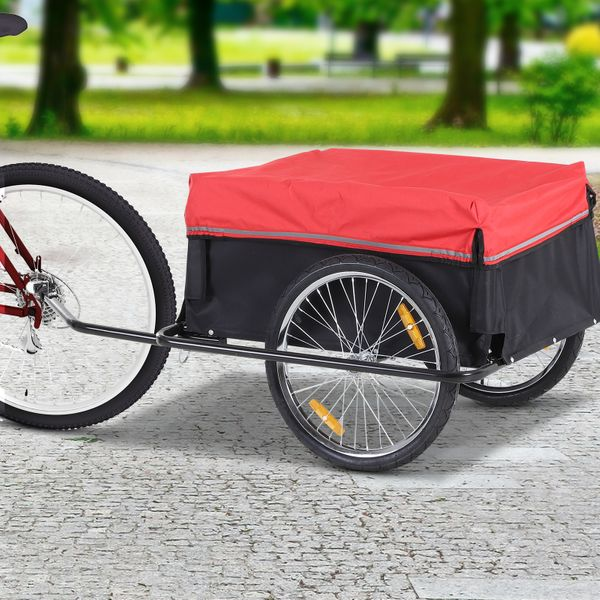 PawHut Bicycle Cargo Trailer Cart Carrier Garden Use w/ Cover  Black/Red|Aosom Canada