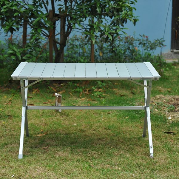 """Outsunny 45""""x28""""x28"""" Aluminum Portable Picnic Table Folding Roll Up Top Aluminum Camp BBQ Table with Carrying Bag, Silver