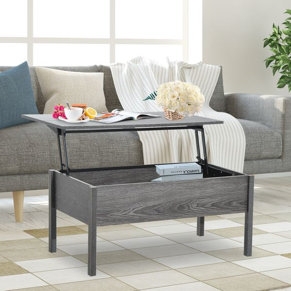 """HOMCOM 39"""" Modern Lift Top Coffee Table Convertible Tea Desk with Hidden Storage Compartment Floating Retractable Lift Top Table Grey   Aosom Canada"""
