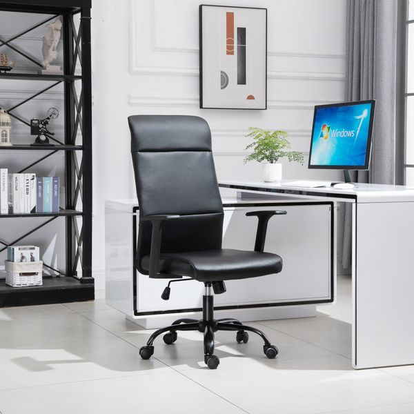 Vinsetto High-Back Office Chair Faux Leather Computer Home Desk Rocking with Wheels  Black w/   Aosom Canada
