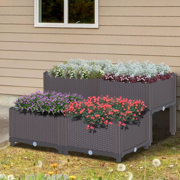 Outsunny 4-piece Raised Flower Bed Vegetable Herb Planter Lightweight