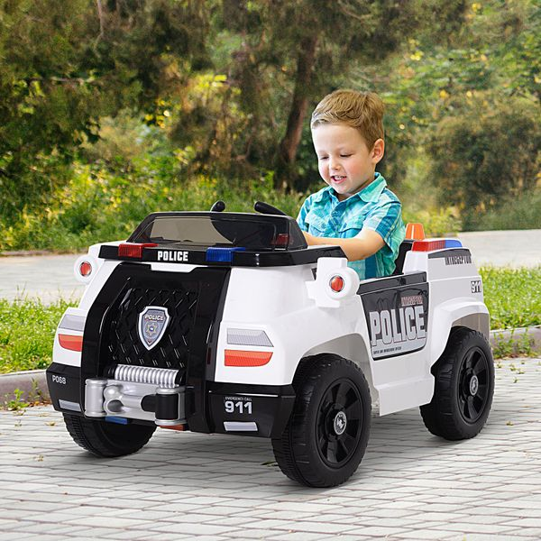 Aosom Kids Ride-On Police Car 6V with Remote Control  Safety Belt White|AOSOM.CA