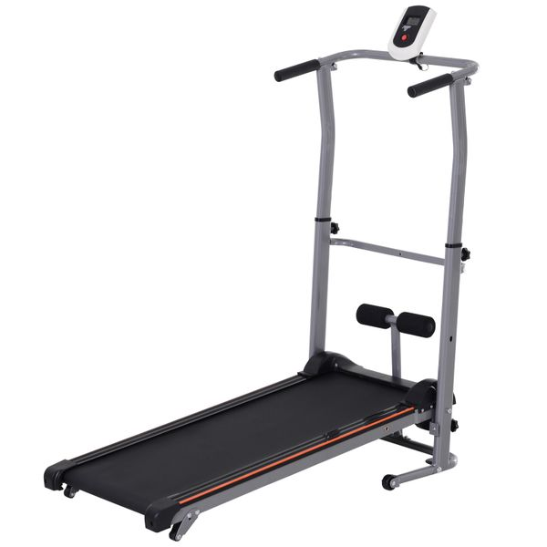 Soozier Manual Walking Treadmill Sit Up Station 2-in-1 Portable Incline Sit-up Machine Folding Cardio Fitness Exercise Home Gym Machine Grey Aosom Canada