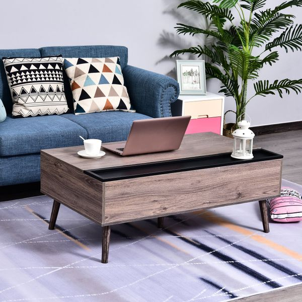 HOMCOM Lift-Top Coffee Table with Hidden Storage Compartment and Storage Cabinet, Industrial Design End Side Table, Grey