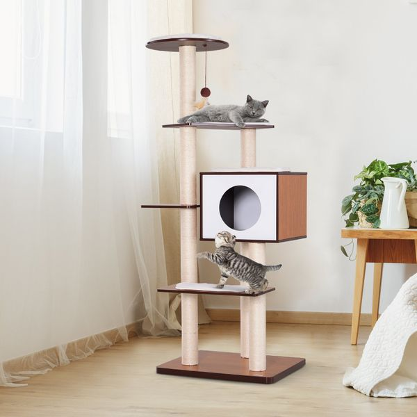 "PawHut 60"" Tall Cat Condo Tower Scratching Post Activity Tree House Furniture