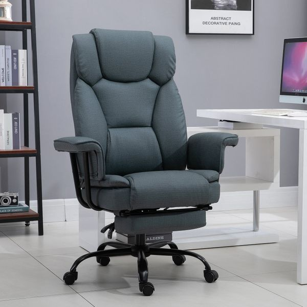 Vinsetto Swivel reclining Office Chair retractable footrest imitation cloth PU | Aosom Canada