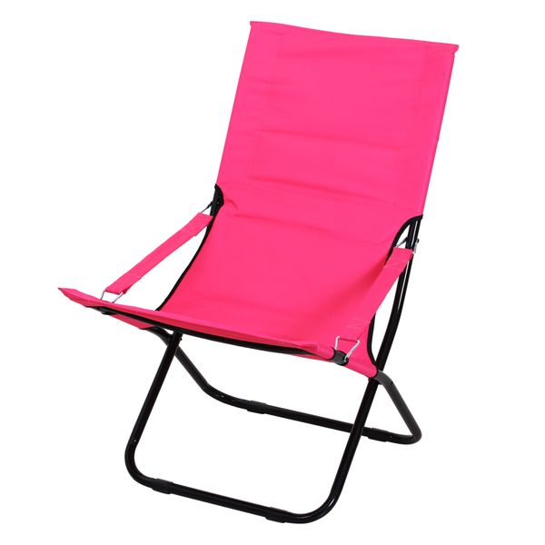 Outsunny Folding Beach Chair Outdoor Garden Lounge Seat Portable Ergonomic Padded Camping Fishing Hiking Chair w/ Armrest Pink|Aosom Canada
