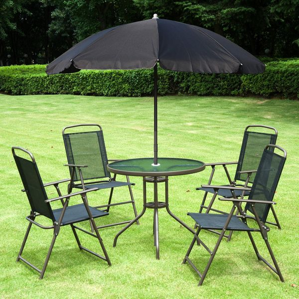 Outsunny 6pc Outdoor Patio Umbrella Set Garden Bistro Yard Furniture Dining Table Folding Chairs Aluminum Black